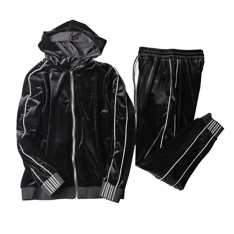 Windproof Mens Black Velour Tracksuit Mens Sweat Suits Sets Soft Feeling